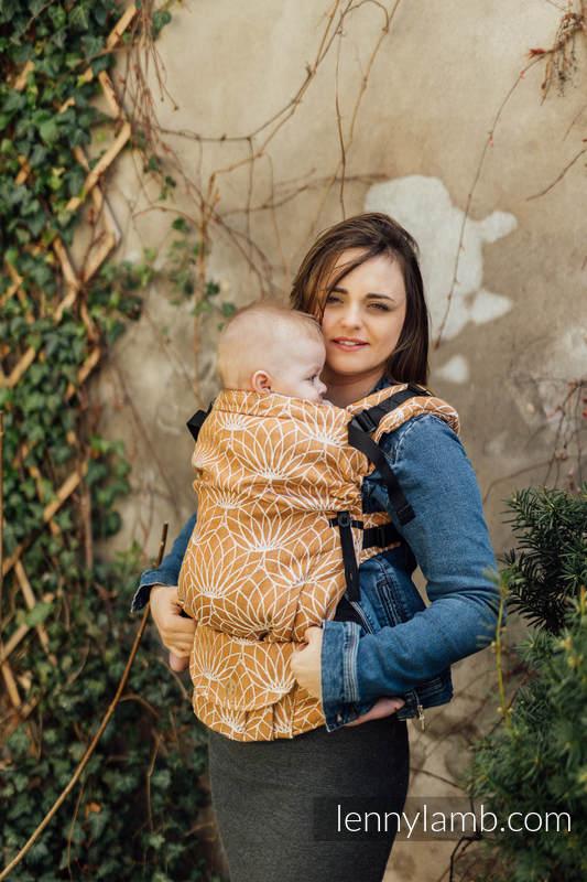 Mochila LennyUpGrade, talla estándar, tejido jaquard (100% lino) - conversión de fular LOTUS - GOLD  #babywearing