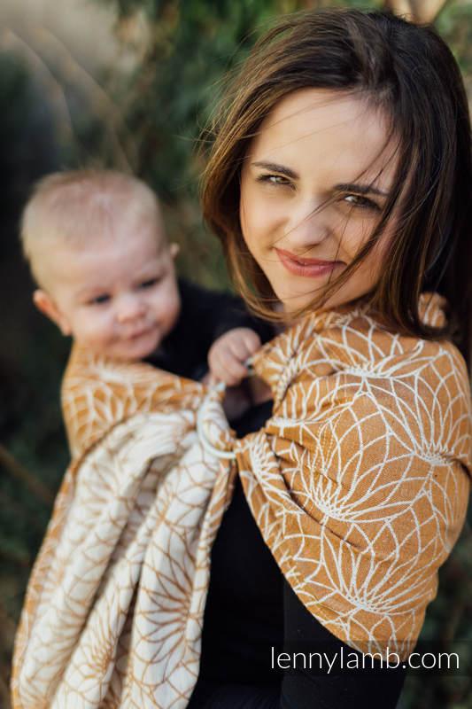 Ringsling, Jacquard Weave, with gathered shoulder (100% linen) - LOTUS - GOLD - standard 1.8m #babywearing