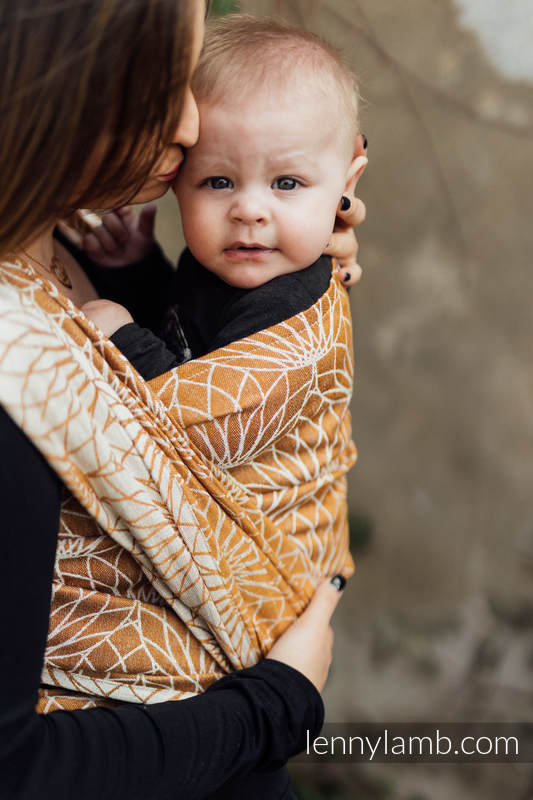 Baby Wrap, Jacquard Weave (100% linen) - LOTUS - GOLD - size XS #babywearing