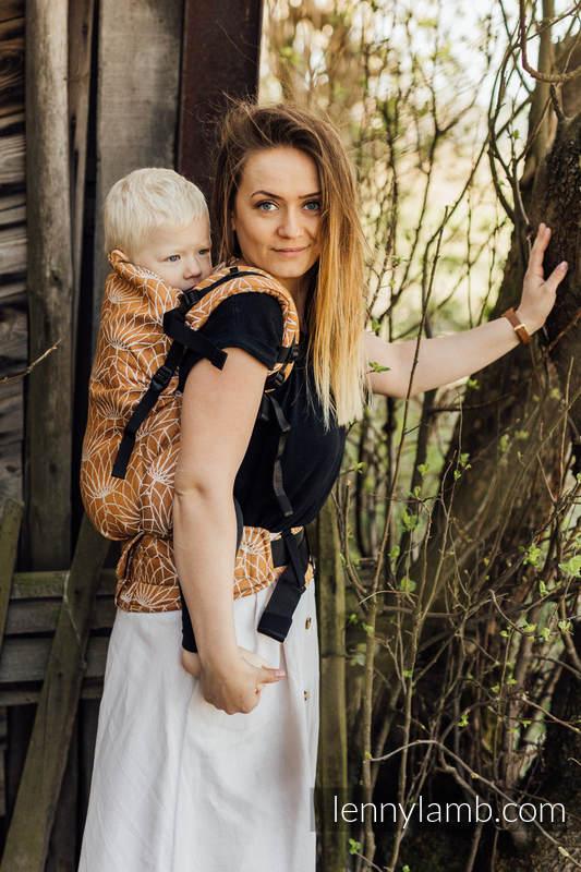 Nosidełko LennyPreschool  z tkaniny żakardowej 100% len, rozmiar preschool - LOTOS - ZŁOTY  #babywearing