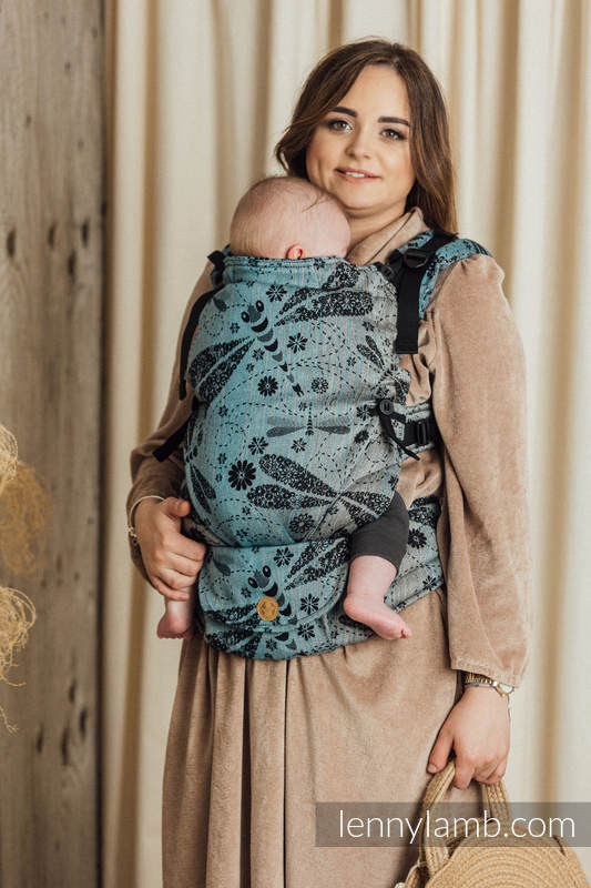 Mochila LennyUpGrade, talla estándar, tejido jaquard (60% algodón, 28% lino, 12% seda tusor) - conversión de fular DRAGONFLY - TWO ELEMENTS #babywearing