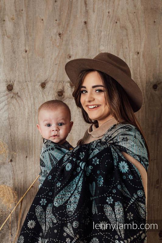 Żakardowa chusta do noszenia dzieci, 60% Bawełna 28% Len 12% Jedwab Tussah - WAŻKI - DWA ŻYWIOŁY - rozmiar XS #babywearing