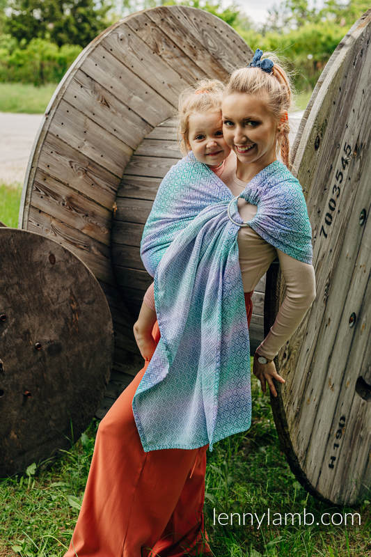 Sling, jacquard (32 % bambou + 68 % coton) - avec épaule sans plis - BIG  LOVE - SIRENA - standard 1.8m #babywearing