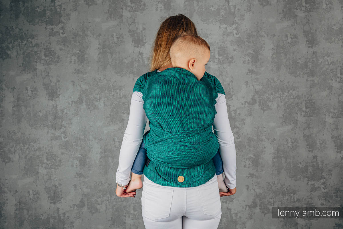 LennyHybrid Half Buckle Carrier, Preschool Size, herringbone weave 100% cotton - BASIC LINE EMERALD #babywearing