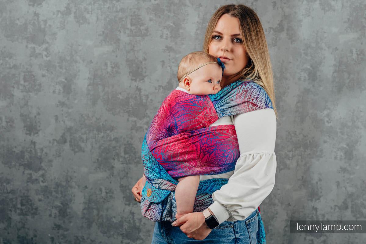 LennyHybrid Half Buckle Carrier, Standard Size, jacquard weave 100% cotton - WILD SOUL - BLAZE  #babywearing