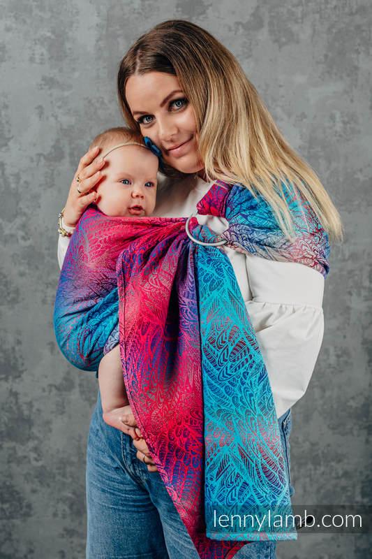 Żakardowa chusta kółkowa do noszenia dzieci, (100% bawełna), ramię bez zakładek - WOLNY DUCH - BLAZE - standard 1.8m #babywearing