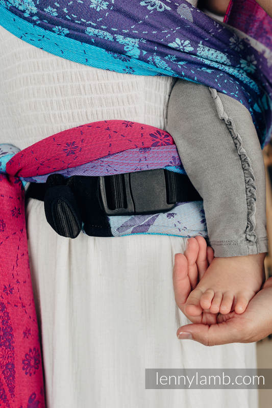 LennyHybrid Half Buckle Carrier, Standard Size, jacquard weave 100% cotton - DRAGONFLY - FAREWELL TO THE SUN #babywearing