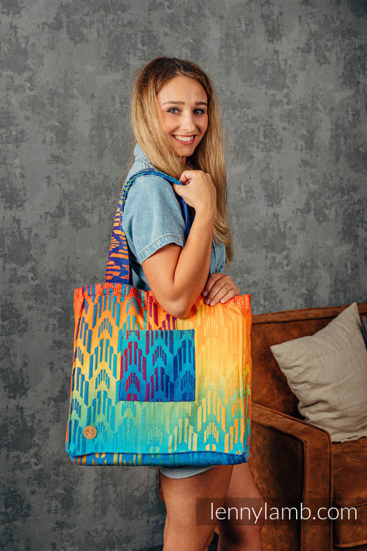 Shoulder bag made of wrap fabric (100% cotton) - RAINBOW CHEVRON - standard size 37cmx37cm #babywearing