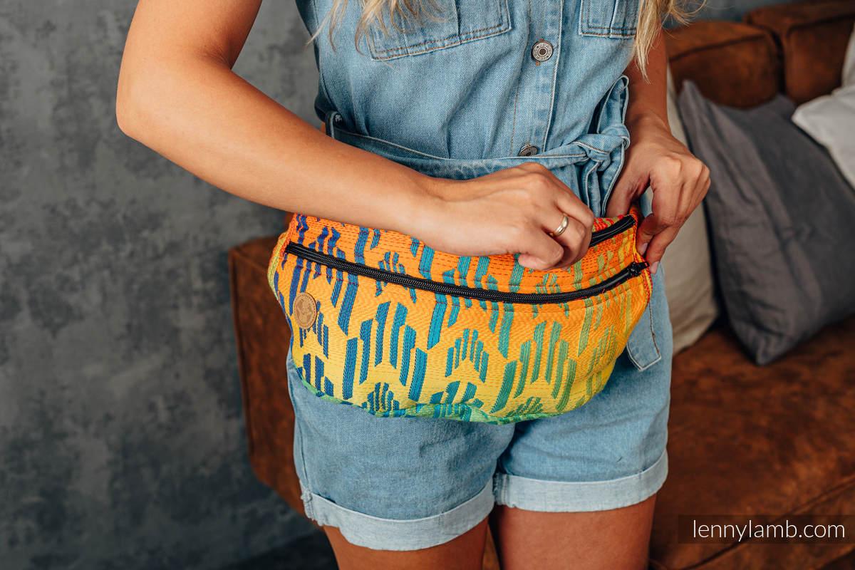Saszetka z tkaniny chustowej, rozmiar large (100% bawełna) - TĘCZOWY CHEVRON #babywearing