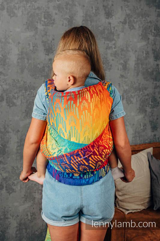 LennyHybrid Half Buckle Carrier, Preschool Size, jacquard weave 100% cotton - RAINBOW CHEVRON  #babywearing