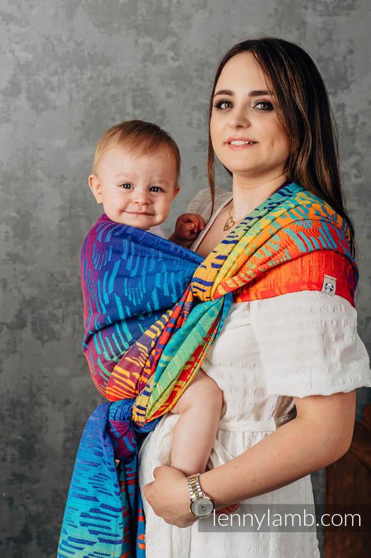 Baby Wrap, Jacquard Weave (100% cotton) - RAINBOW CHEVRON - size XS #babywearing