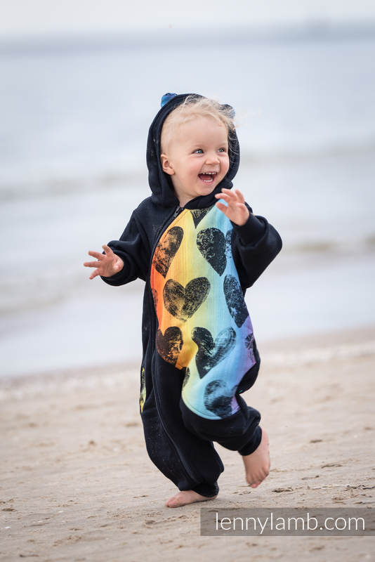 Bear Romper - size 116 - Black & Lovka Rainbow Dark #babywearing