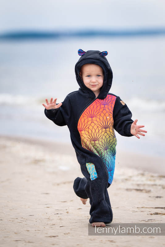 Bear Romper - size 80 - Black & Rainbow Lotus #babywearing