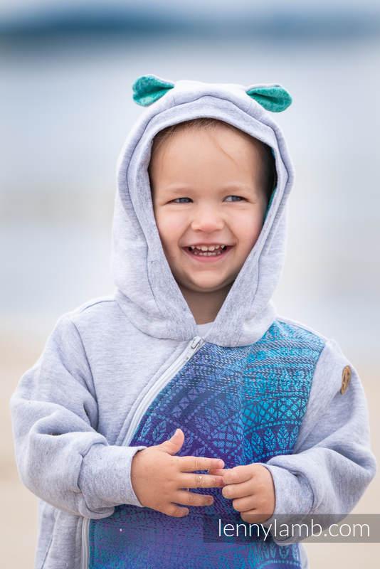 Bear Romper - size 104 - Gray melange & Peacock's Tail  - Fantasy #babywearing