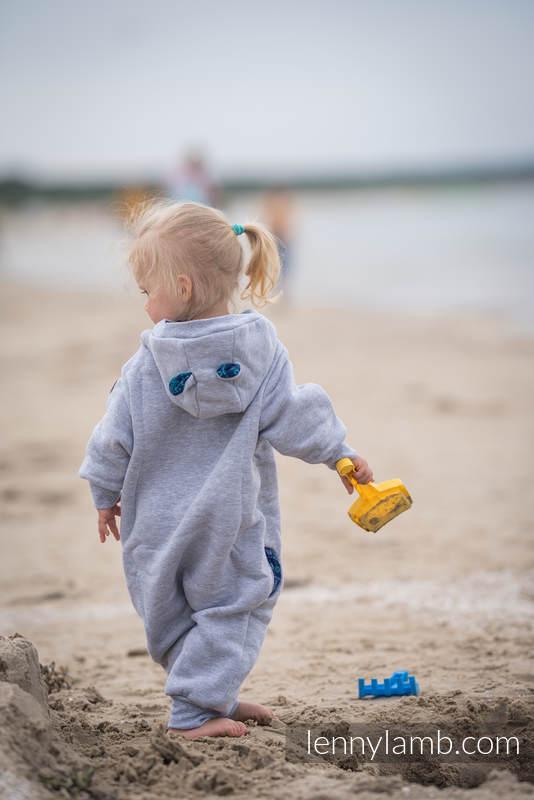 Bear Romper - size 104 - Gray melange & Peacock's Tail  - Provance #babywearing