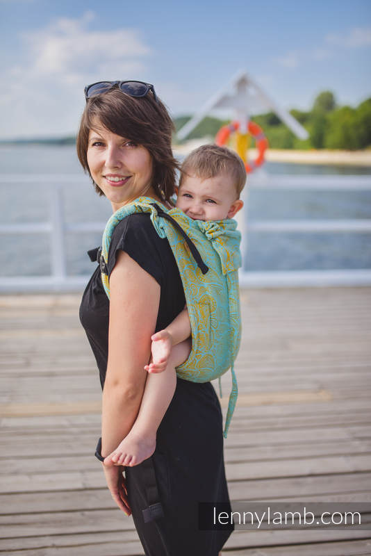 Lenny Buckle Onbuhimo baby carrier, Standard  size, jacquard weave (86% cotton, 14% viscose) - PAISLEY - GLOWING DROPLETS #babywearing
