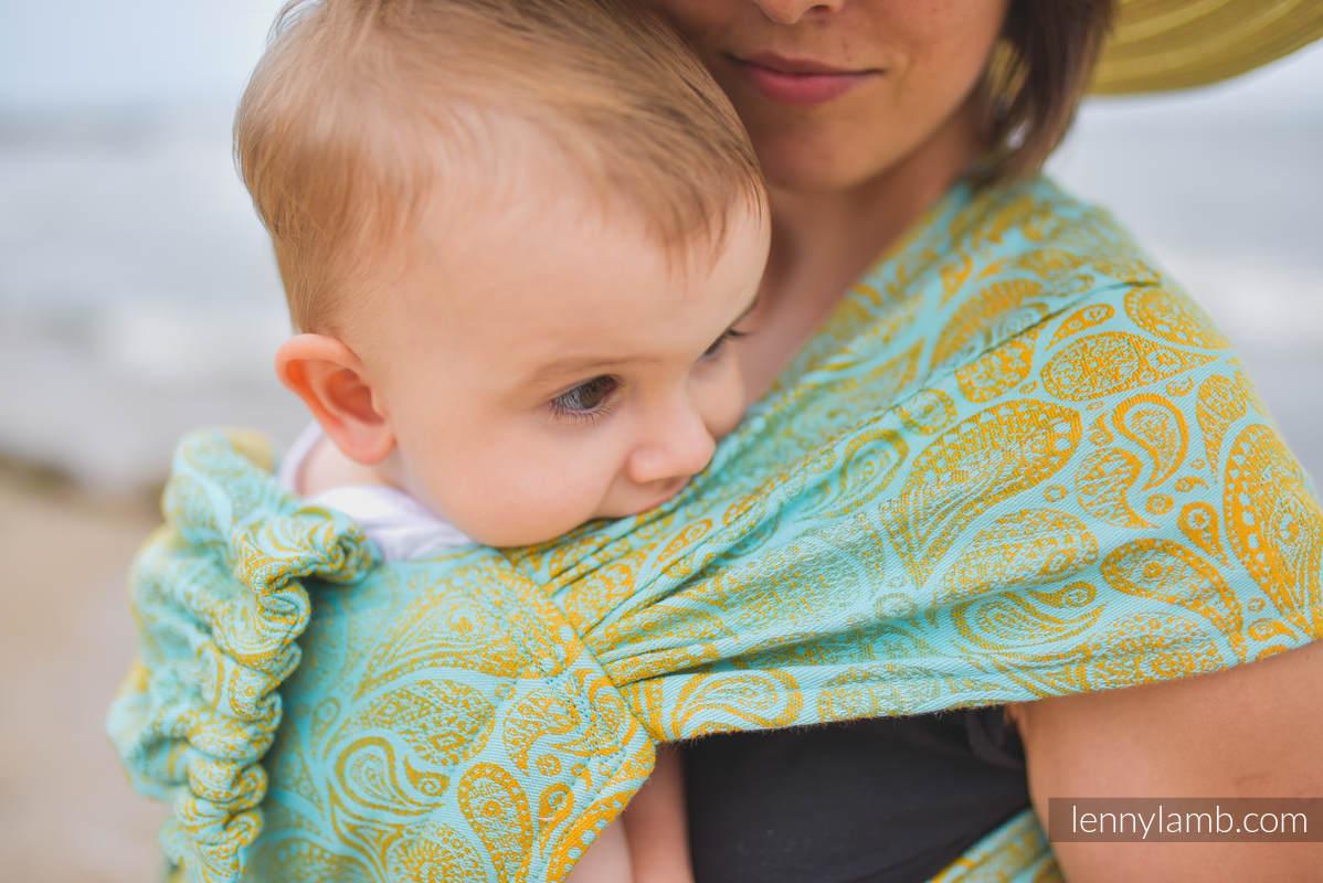Nosidełko LennyHybrid Half Buckle, splot żakardowy, (86% bawełna, 14% wiskoza ) , rozmiar standard - PAISLEY - GLOWING DROPLETS #babywearing