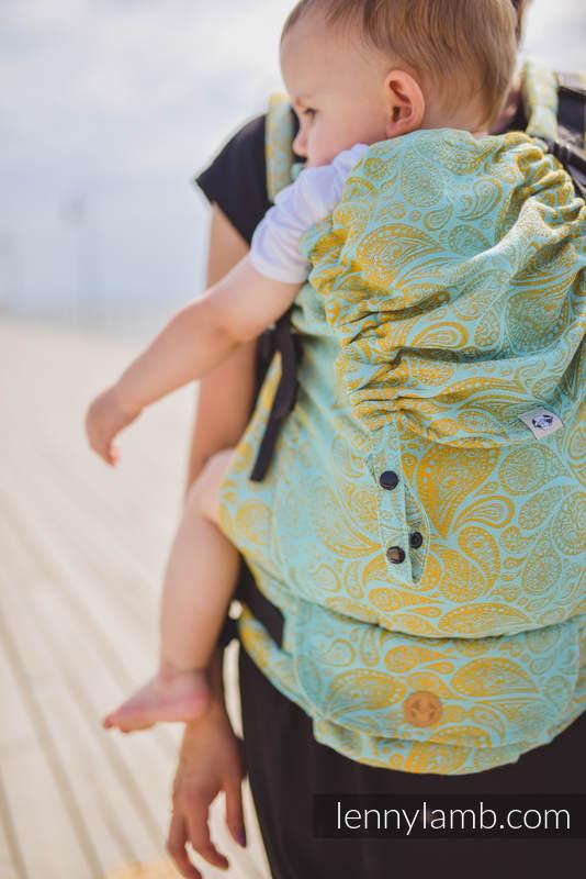 LennyUpGrade Carrier, Standard Size, jacquard weave (86% cotton, 14% viscose) - PAISLEY - GLOWING DROPLETS #babywearing