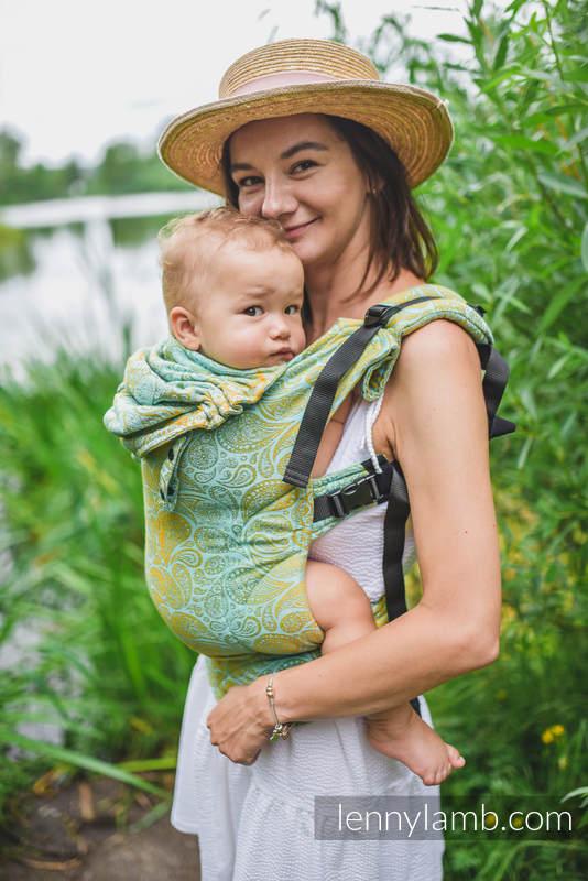Marsupio Ergonomico LennyGo, misura Toddler, tessitura jacquard (86% cotone 14% viscosa) - PAISLEY - GLOWING DROPLETS #babywearing