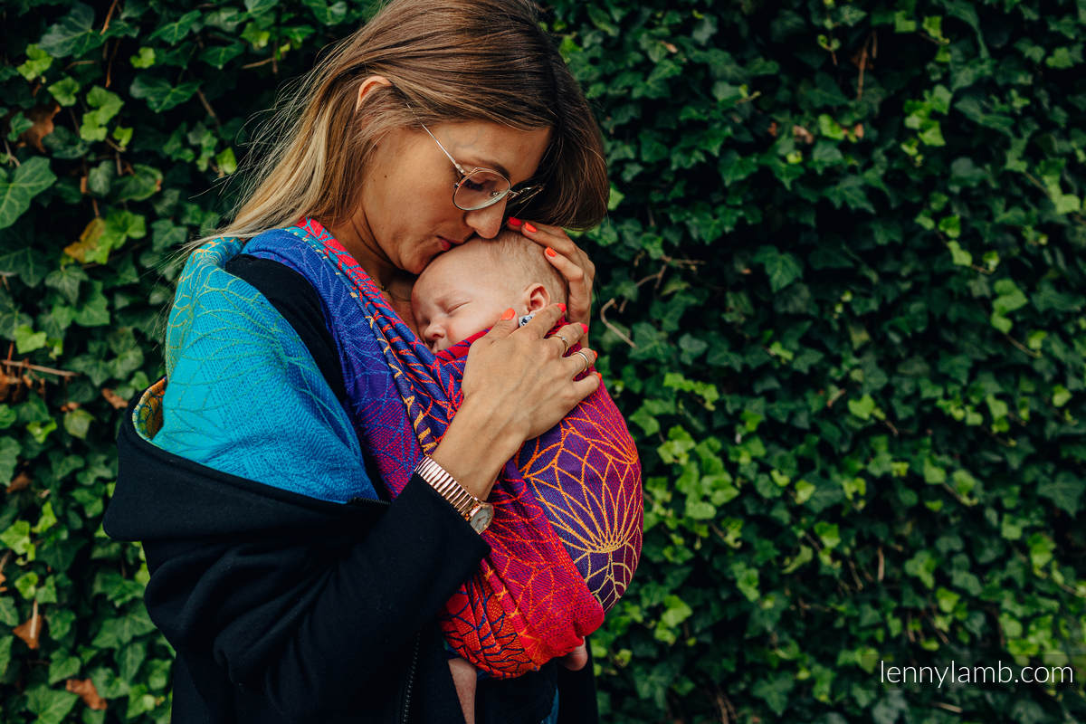 Asymmetrical Hoodie - Black with Rainbow Lotus - size M #babywearing