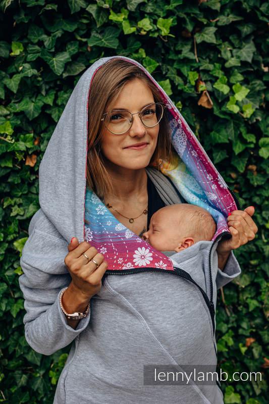 Asymetryczna Bluza - Szary Melanż z Ważki Tęczowe - rozmiar M #babywearing