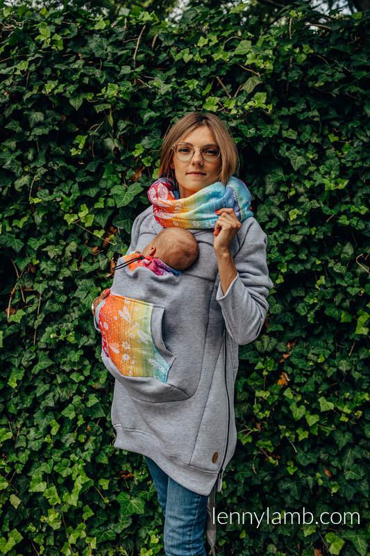 Tragepullover 3.0 - Graue Melange mit Dragonfly Rainbow - Größe 6XL #babywearing