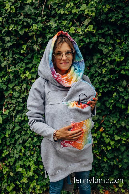 Babywearing Sweatshirt 3.0 - Grey Melange with Dragonfly Rainbow - size 3XL #babywearing