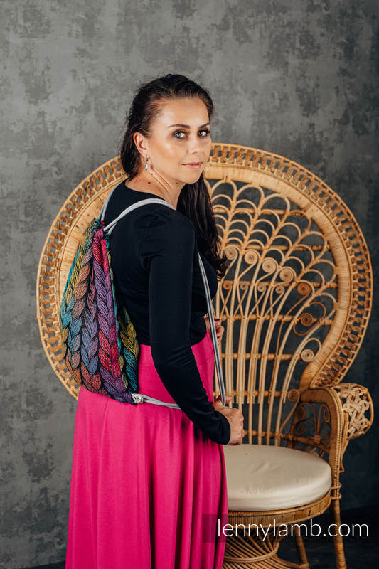 Mochila portaobjetos hecha de tejido de fular (100% algodón) - TANGLED - BEHIND THE SUN - talla estándar 32cmx43cm #babywearing