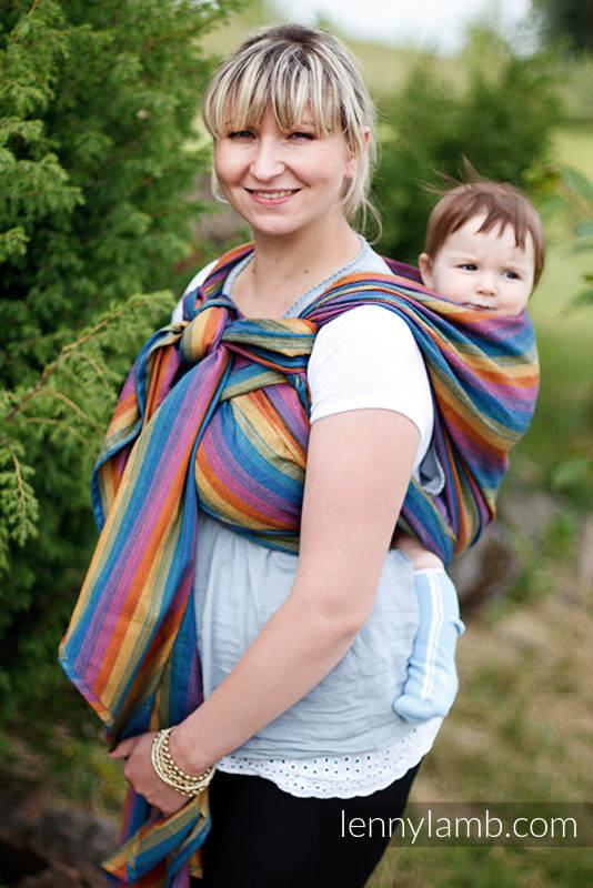 Chusta do noszenia dzieci, tkana splotem skośno-krzyżowym, bawełna z bambusem - Paradiso - rozmiar L #babywearing