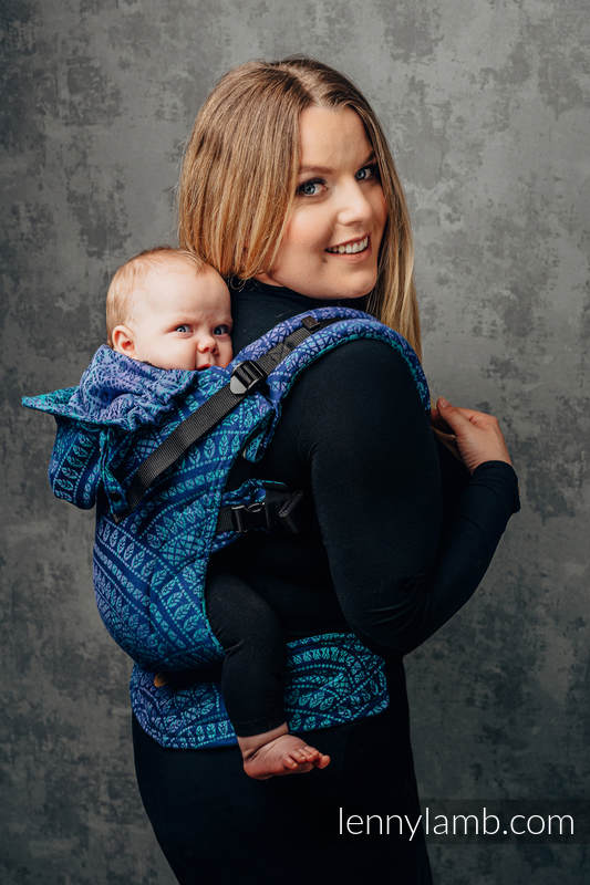 LennyGo Ergonomic Carrier, Baby Size, jacquard weave 100% cotton - PEACOCK'S TAIL - PROVANCE #babywearing
