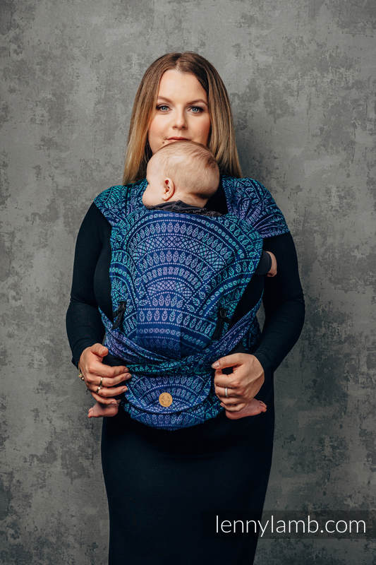 LennyHybrid Half Buckle Carrier, Standard Size, jacquard weave 100% cotton - PEACOCK'S TAIL - PROVANCE #babywearing