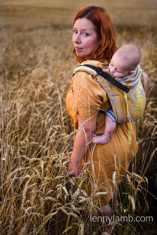 Lenny Buckle Onbuhimo Tragehilfe, Größe Toddler, Jacquardwebung (95% Baumwolle, 5% metallisiertes Garn) - HARVEST - FIELDS OF GOLD #babywearing