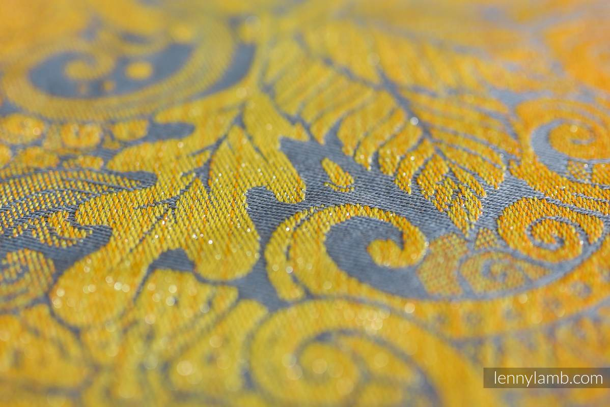 LennyHybrid Half Buckle Carrier, Standard Size, jacquard weave (95% cotton, 5% metallised yarn)  - HARVEST - FIELDS OF GOLD #babywearing