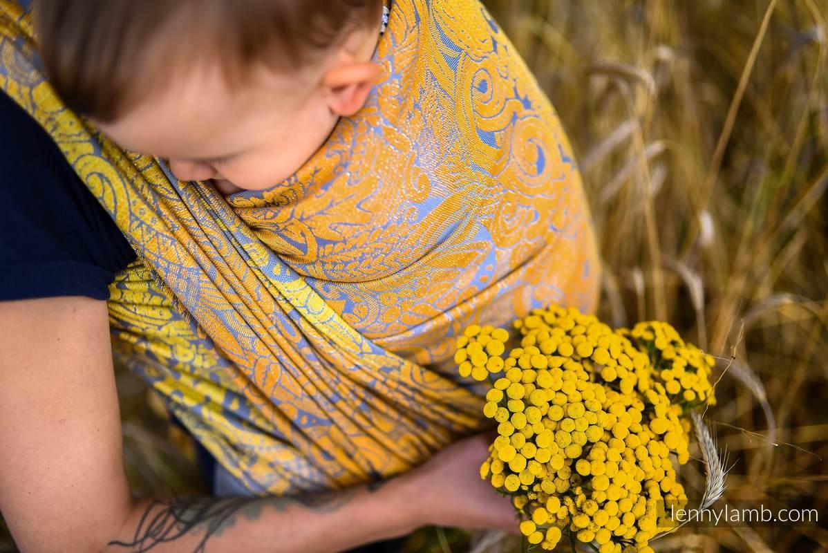 Tragetuch, Jacquardwebung (95% Baumwolle, 5% metallisiertes Garn) - HARVEST - FIELDS OF GOLD - Größe XS #babywearing