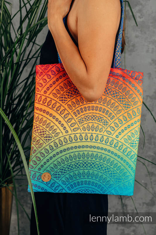 Shopping bag made of wrap fabric (100% cotton) - RAINBOW PEACOCK'S TAIL  #babywearing