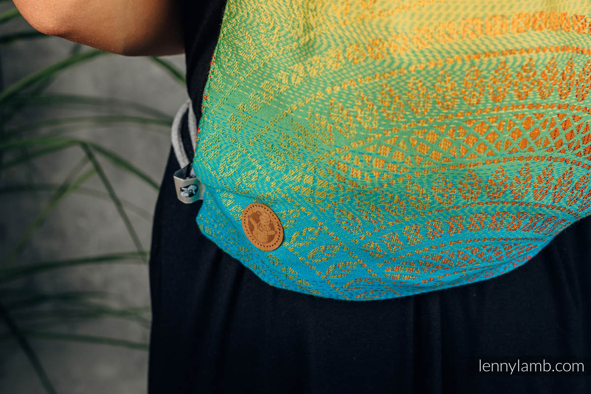 Sackpack made of wrap fabric (100% cotton) - RAINBOW PEACOCK'S TAIL - standard size 32cmx43cm #babywearing