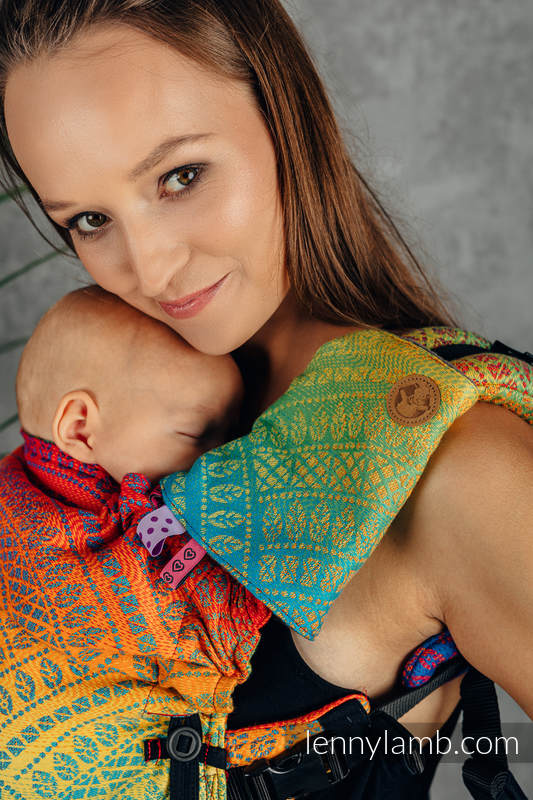 Schultergurtschoner (60% Baumwolle, 40% poliester) - RAINBOW PEACOCK'S TAIL  #babywearing