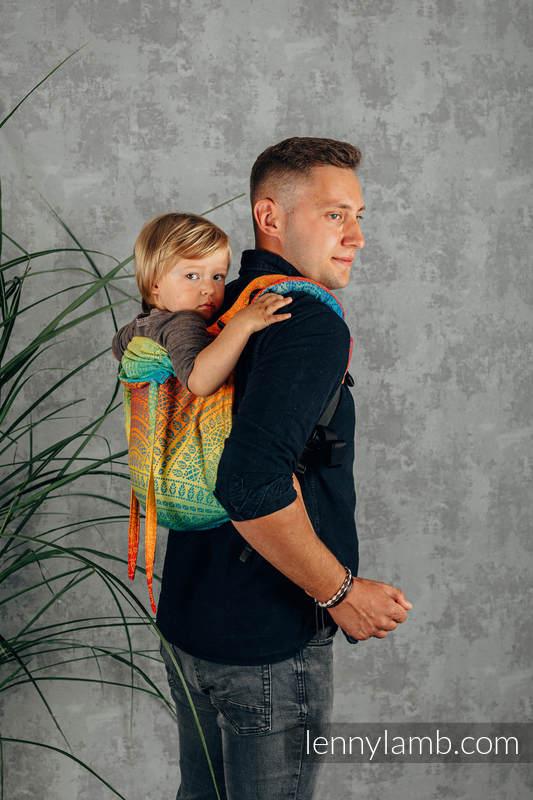 Lenny Buckle Onbuhimo Tragehilfe, Größe Standard, Jacquardwebung (100% Baumwolle) - RAINBOW PEACOCK'S TAIL  #babywearing