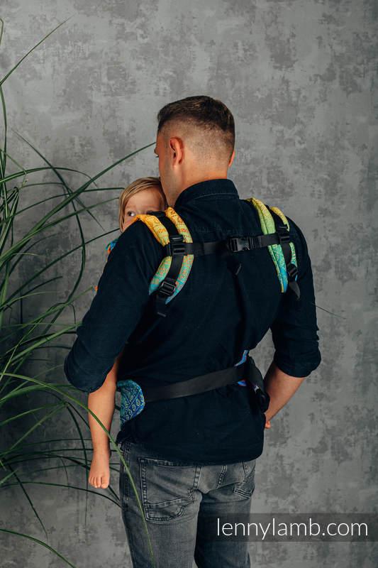 Nosidełko Ergonomiczne LennyGo z tkaniny żakardowej 100% bawełna , Baby Size - TĘCZOWY PAWI OGON  #babywearing