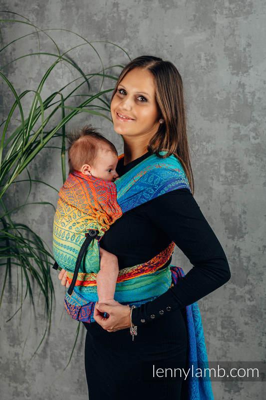 LennyHybrid Half Buckle Carrier, Standard Size, jacquard weave 100% cotton - RAINBOW PEACOCK'S TAIL  #babywearing