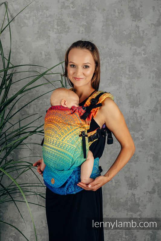 LennyUpGrade Tragehilfe, Größe Standard, Jacquardwebung, 100% Baumwolle - RAINBOW PEACOCK'S TAIL  #babywearing