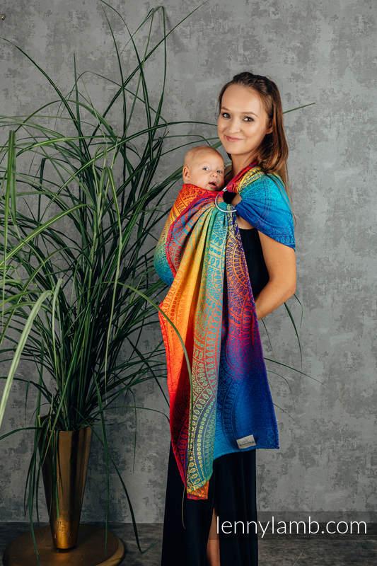 Bandolera de anillas, tejido Jacquard (100% algodón) - con plegado simple - RAINBOW PEACOCK'S TAIL - standard 1.8m #babywearing