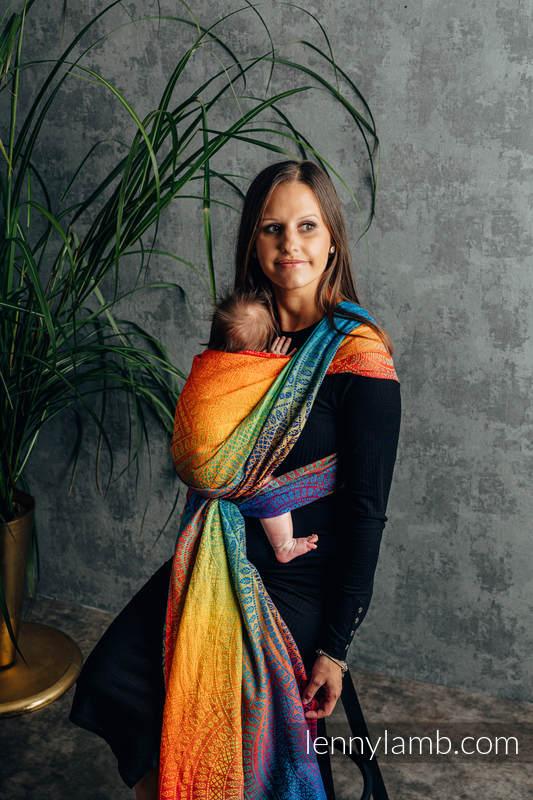 Tragetuch, Jacquardwebung (100% Baumwolle) - RAINBOW PEACOCK'S TAIL - Größe XS #babywearing
