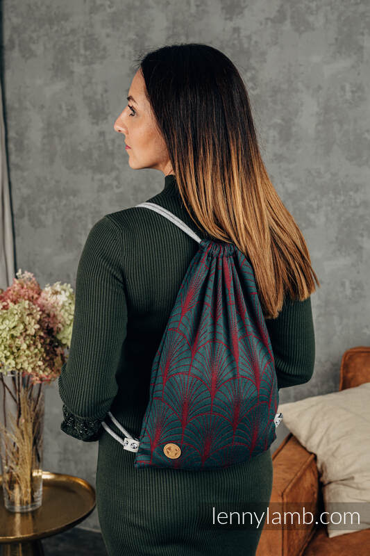 Sackpack made of wrap fabric (100% cotton) - DECO - MAROON MOSS - standard size 32cmx43cm #babywearing