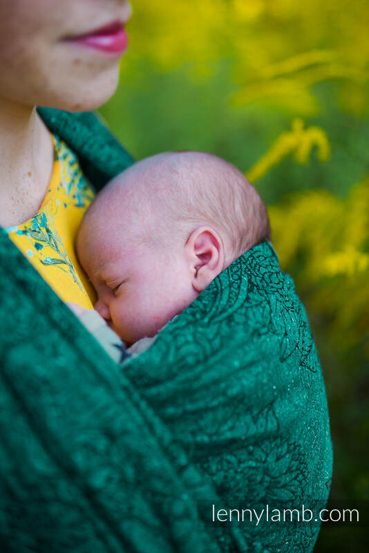 Baby Wrap, Jacquard Weave (51% cotton 49% silk) - WILD VINE - IVY - size XS #babywearing
