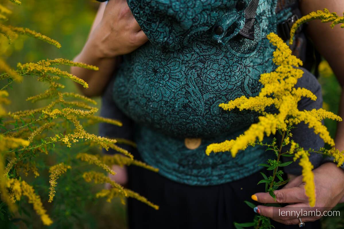 LennyGo Ergonomic Carrier, Baby Size, jacquard weave 51% cotton 49% silk - WILD VINE - IVY #babywearing