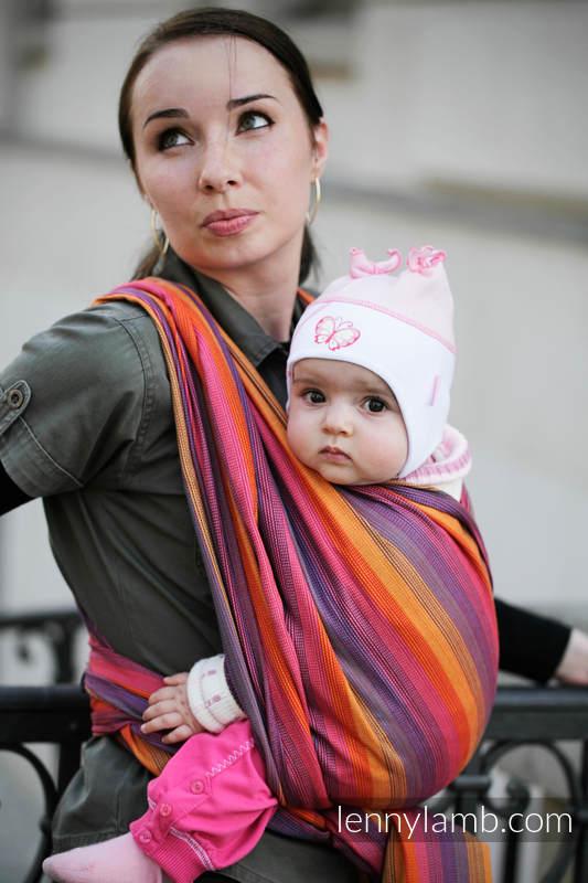 Baby Sling, Broken Twill Weave (bamboo + cotton) - Sunset Rainbow - size XS #babywearing