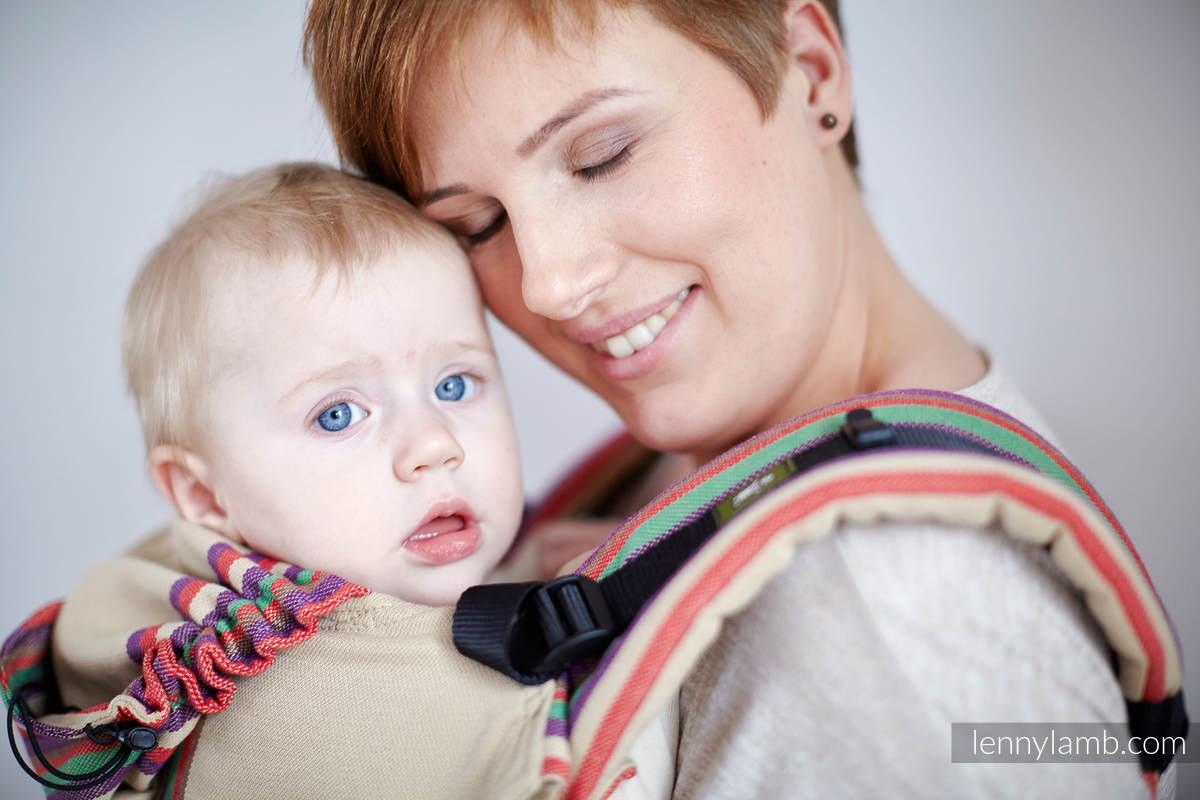 Nosidełko Ergonomiczne z tkaniny skośnokrzyżowej 100% bawełna , Baby Size, PIASKOWA DOLINA, Druga generacja #babywearing