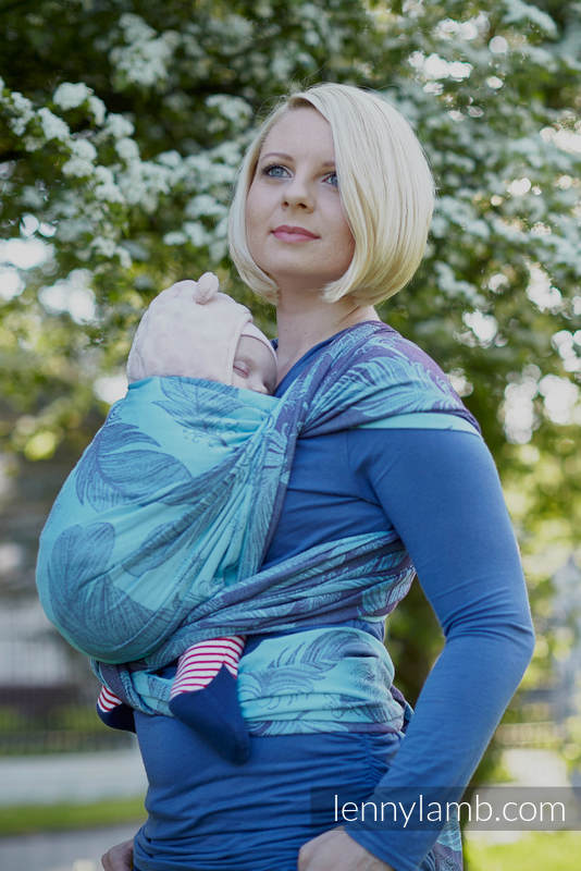 Baby Wrap Jacquard Weave 100 Cotton Feathers Turquoise