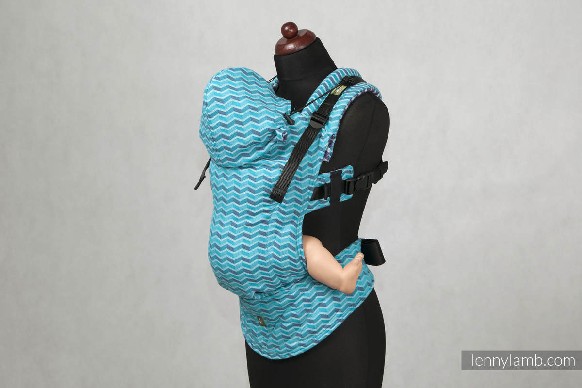 Ergonomic Carrier, Toddler Size, jacquard weave 100% cotton - wrap conversion from ZigZag Turquoise & Purple - Second Generation. (grade B) #babywearing